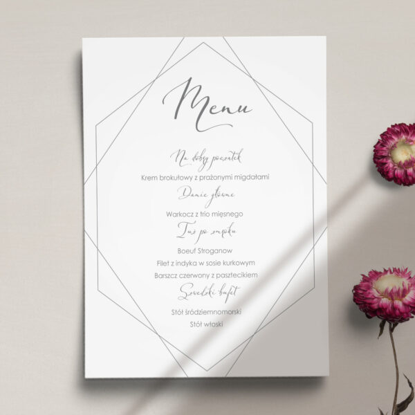 Druga strona Menu ślubne z kolekcji Kreska i kwiaty firmy Cartolina - zaproszenia ślubne