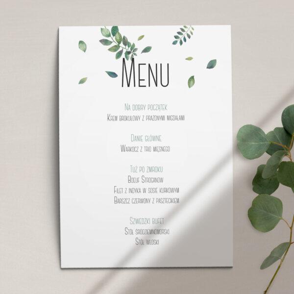 Pierwsza strona Menu ślubne z kolekcji Listki na wietrze firmy Cartolina - zaproszenia ślubne