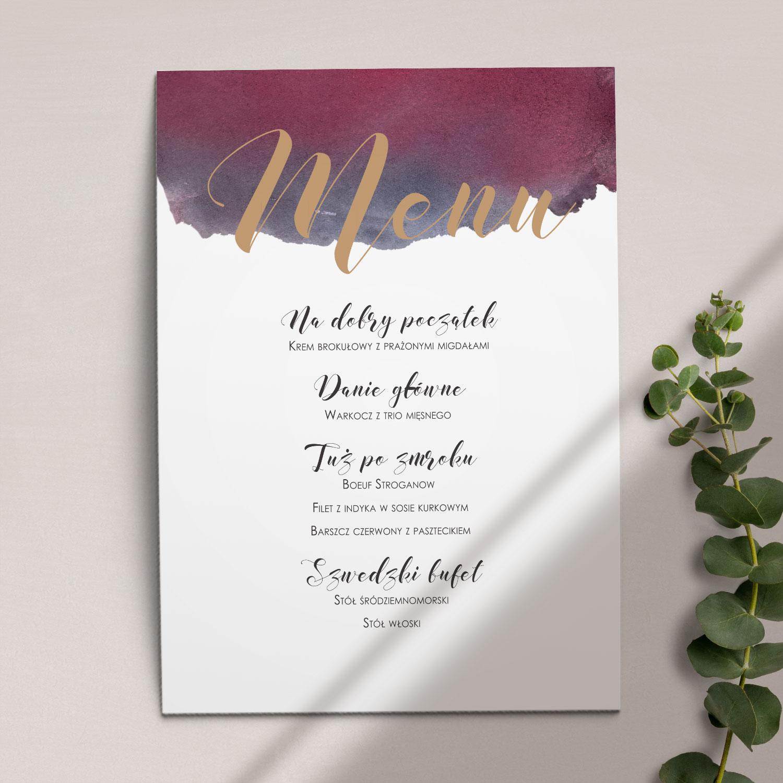 Pierwsza strona Menu ślubne z kolekcji Szykowne akwarele firmy Cartolina - zaproszenia ślubne