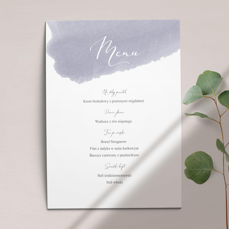 Pierwsza strona Menu ślubne z kolekcji Wiosenna mgła firmy Cartolina - zaproszenia ślubne