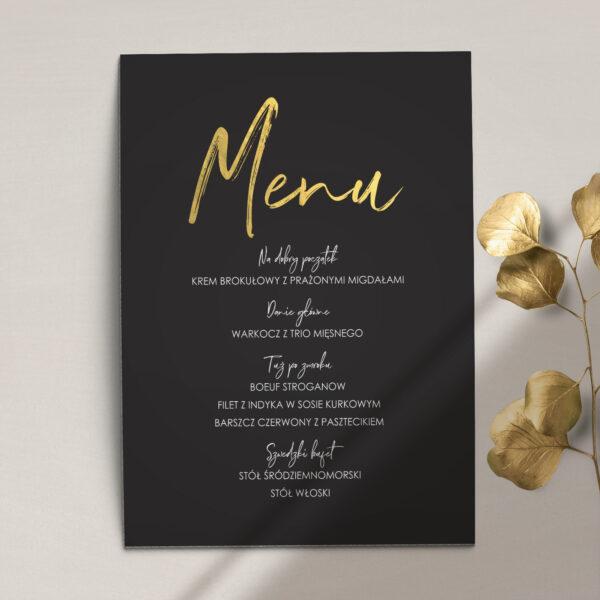 Menu ślubne z kolekcji Złote imiona na czarnym tle firmy Cartolina - zaproszenia ślubne
