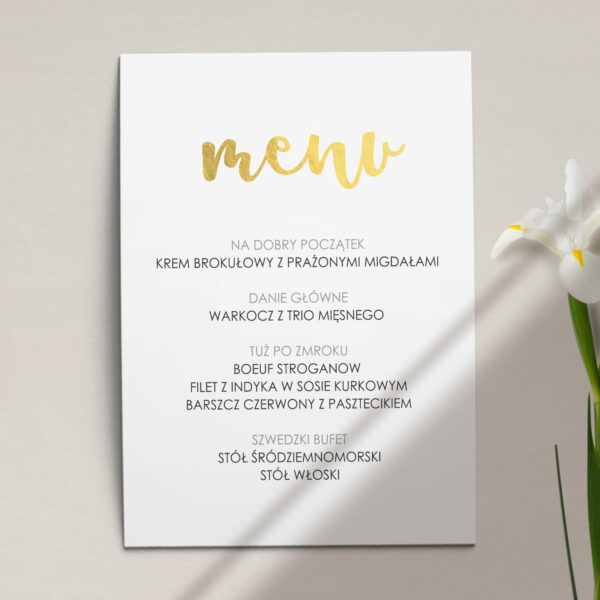 Menu ślubne z kolekcji Złote love firmy Cartolina - zaproszenia ślubne