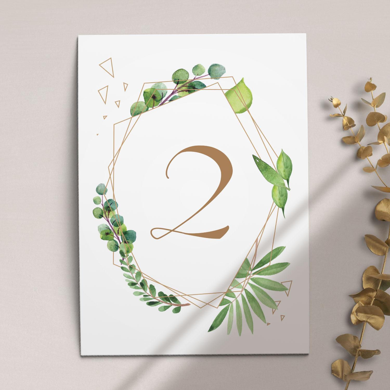 Numer na stół ślubny z kolekcji Botaniczne geometryczne firmy Cartolina - zaproszenia ślubne