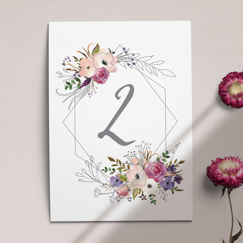 Numer na stół ślubny z kolekcji Kreska i kwiaty firmy Cartolina - zaproszenia ślubne