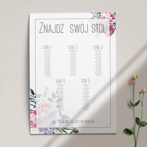 Plan stołów z kolekcji Fuksja firmy Cartolina - zaproszenia ślubne