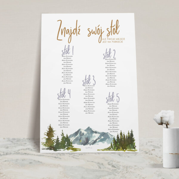 Plan stołów z kolekcji Górskie jezioro firmy Cartolina - zaproszenia ślubne