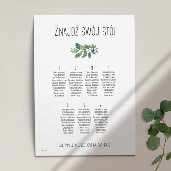 Plan stołów z kolekcji Listki na wietrze firmy Cartolina - zaproszenia ślubne