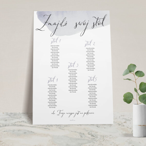 Plan stołów z kolekcji Wiosenna mgła firmy Cartolina - zaproszenia ślubne