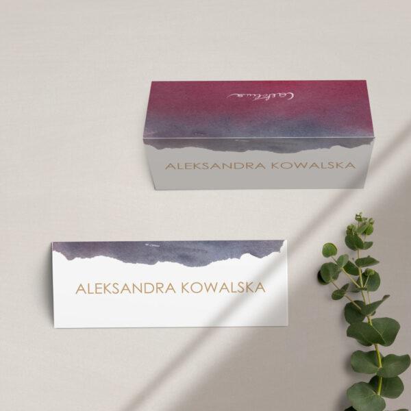 Winietki na stół z kolekcji Szykowne akwarele firmy Cartolina - zaproszenia ślubne
