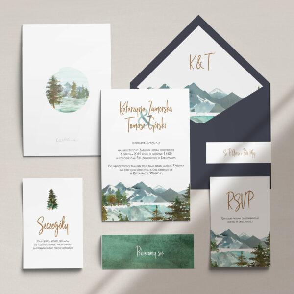 Zaproszenia ślubne nowoczesne wraz z kopertą, RCVP oraz opaską z kolekcji Górskie jezioro firmy Cartolina - zaproszenia ślubne