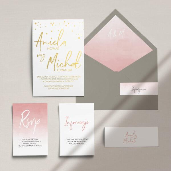 Zaproszenia ślubne nowoczesne, złocone wraz z kopertą, RCVP oraz opaską z kolekcji Złota treść i confetti firmy Cartolina - zaproszenia ślubne