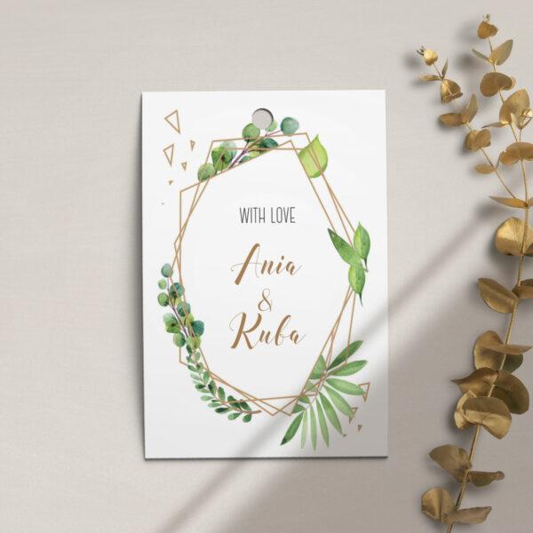 Zawieszka, etykieta na butelkę lub prezent z kolekcji Botaniczne geometryczne firmy Cartolina - zaproszenia ślubne