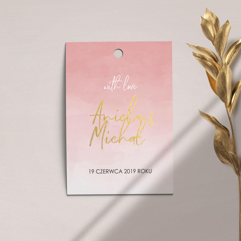 Zawieszka, etykieta na butelkę lub prezent z kolekcji Złota treść i confetti firmy Cartolina - zaproszenia ślubne