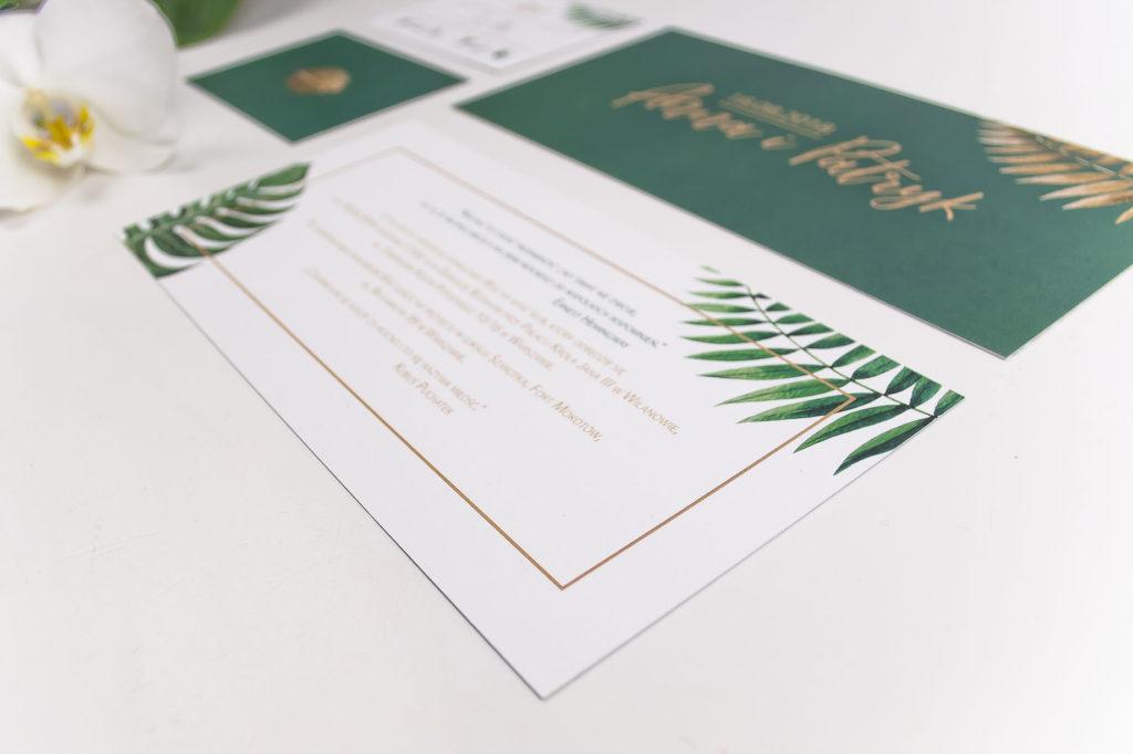 zaproszenia ślubne z motywem tropikalnym liść palmowy