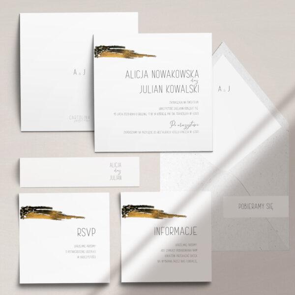 Minimalistyczny blask - zaproszenia ślubne ze złoceniem